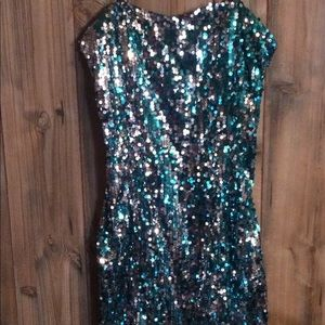 Dresses & Skirts - Turquoise & silver Sequin dress